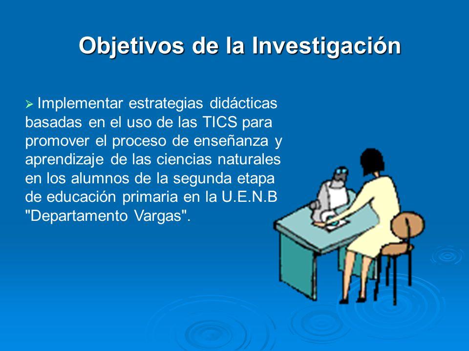Objetivos de la Investigación Implementar estrategias didácticas basadas en el uso de las TICS para promover el proceso de enseñanza y aprendizaje de
