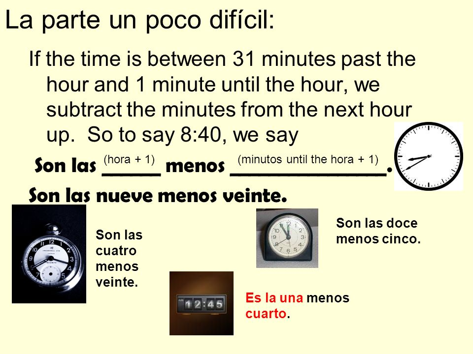 La parte un poco difícil: If the time is between 31 minutes past the hour and 1 minute until the hour, we subtract the minutes from the next hour up.