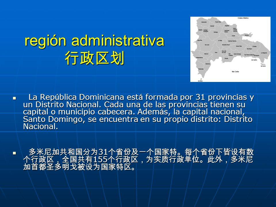 región administrativa región administrativa La Rep ú blica Dominicana est á formada por 31 provincias y un Distrito Nacional. Cada una de las provinci
