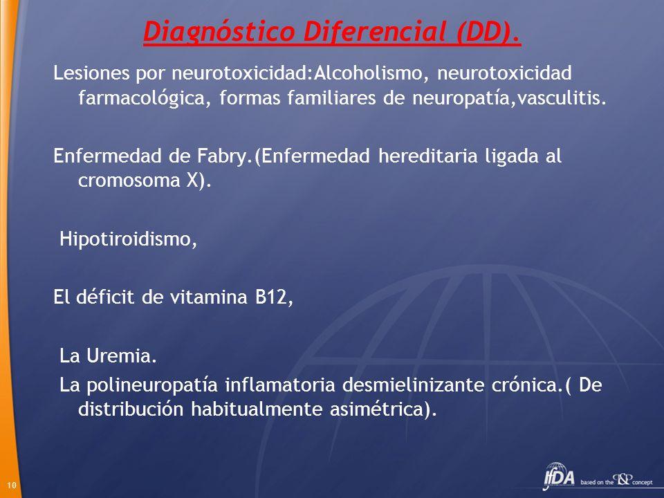 10 Diagnóstico Diferencial (DD). Lesiones por neurotoxicidad:Alcoholismo, neurotoxicidad farmacológica, formas familiares de neuropatía,vasculitis. En