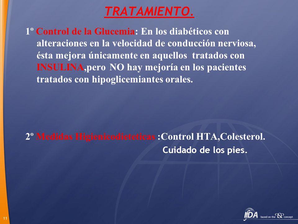 11 TRATAMIENTO. 1º Control de la Glucemia: En los diabéticos con alteraciones en la velocidad de conducción nerviosa, ésta mejora únicamente en aquell