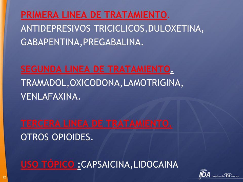 12 PRIMERA LINEA DE TRATAMIENTO. ANTIDEPRESIVOS TRICICLICOS,DULOXETINA, GABAPENTINA,PREGABALINA. SEGUNDA LINEA DE TRATAMIENTO. TRAMADOL,OXICODONA,LAMO