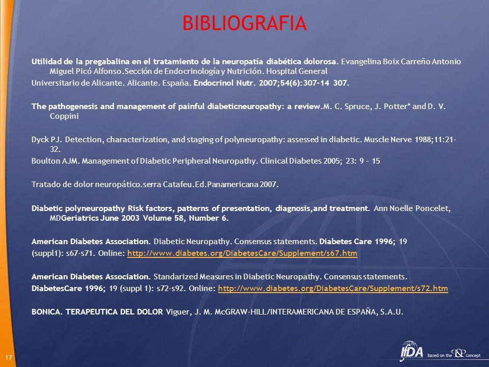 17 BIBLIOGRAFIA Utilidad de la pregabalina en el tratamiento de la neuropatía diabética dolorosa. Evangelina Boix Carreño Antonio Miguel Picó Alfonso.