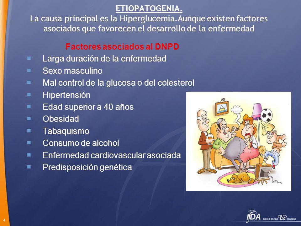 4 ETIOPATOGENIA. La causa principal es la Hiperglucemia.Aunque existen factores asociados que favorecen el desarrollo de la enfermedad Factores asocia