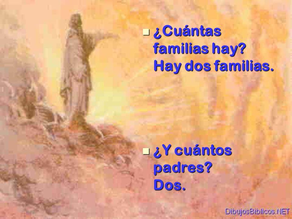 ¿Cuántas familias hay? Hay dos familias. ¿Cuántas familias hay? Hay dos familias. ¿Y cuántos padres? Dos. ¿Y cuántos padres? Dos.