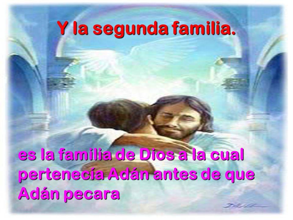 Y la segunda familia. es la familia de Dios a la cual pertenecía Adán antes de que Adán pecara