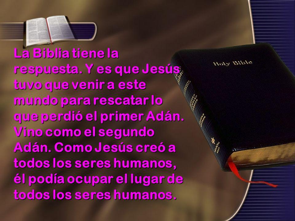 La Biblia tiene la respuesta. Y es que Jesús tuvo que venir a este mundo para rescatar lo que perdió el primer Adán. Vino como el segundo Adán. Como J