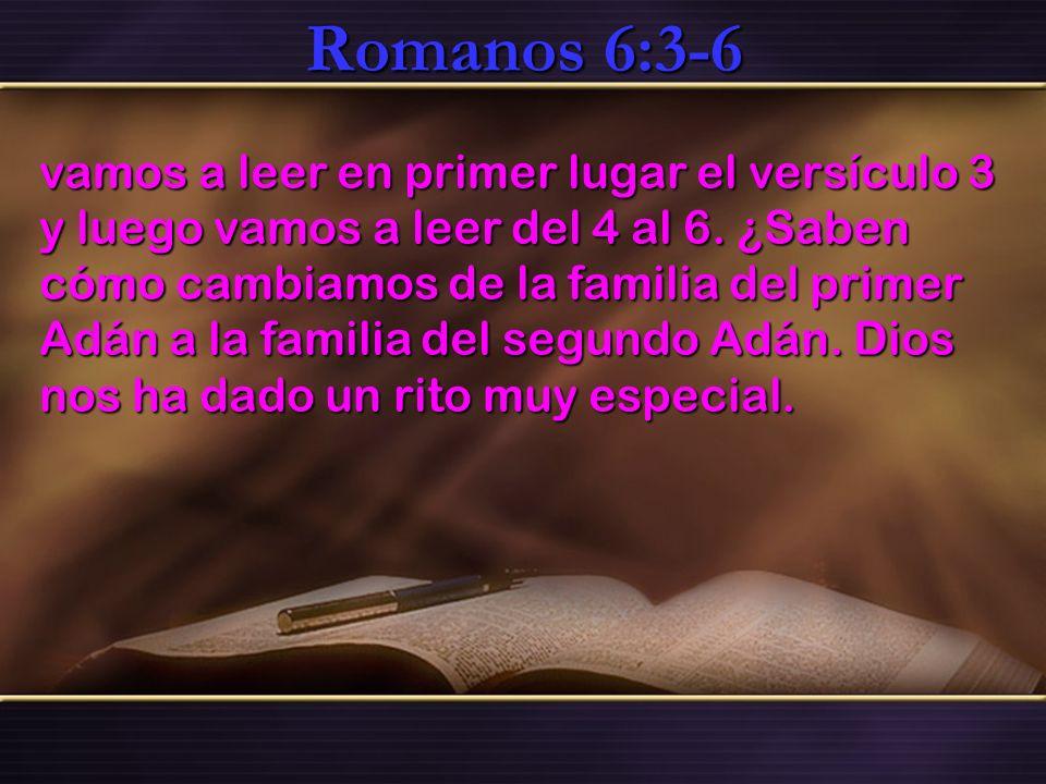 Romanos 6:3-6 vamos a leer en primer lugar el versículo 3 y luego vamos a leer del 4 al 6. ¿Saben cómo cambiamos de la familia del primer Adán a la fa