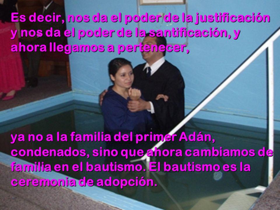 Es decir, nos da el poder de la justificación y nos da el poder de la santificación, y ahora llegamos a pertenecer, ya no a la familia del primer Adán