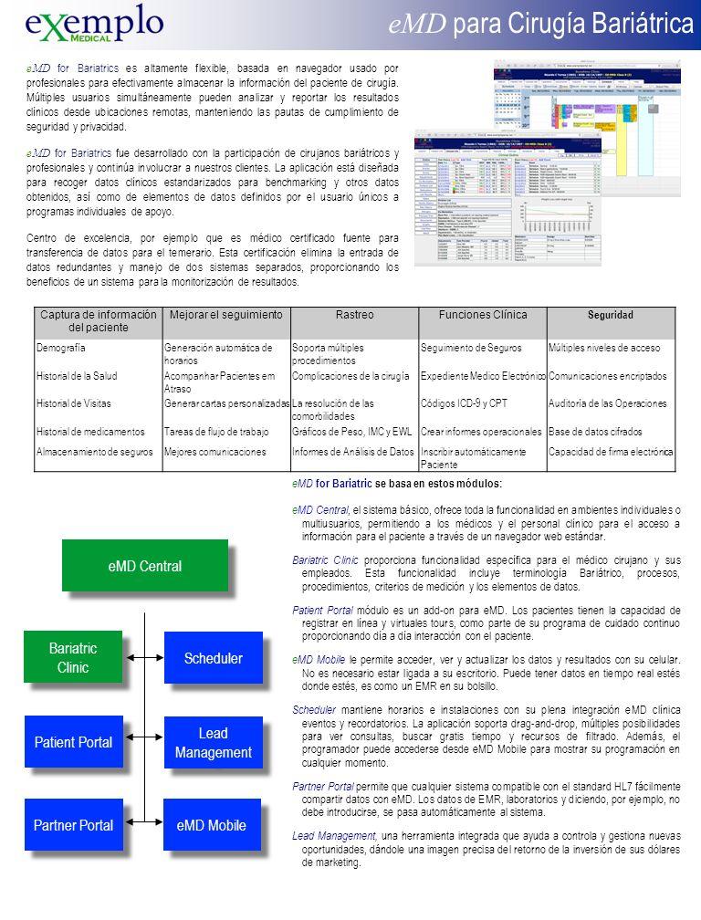 eMD for Bariatrics es altamente flexible, basada en navegador usado por profesionales para efectivamente almacenar la información del paciente de cirugía.