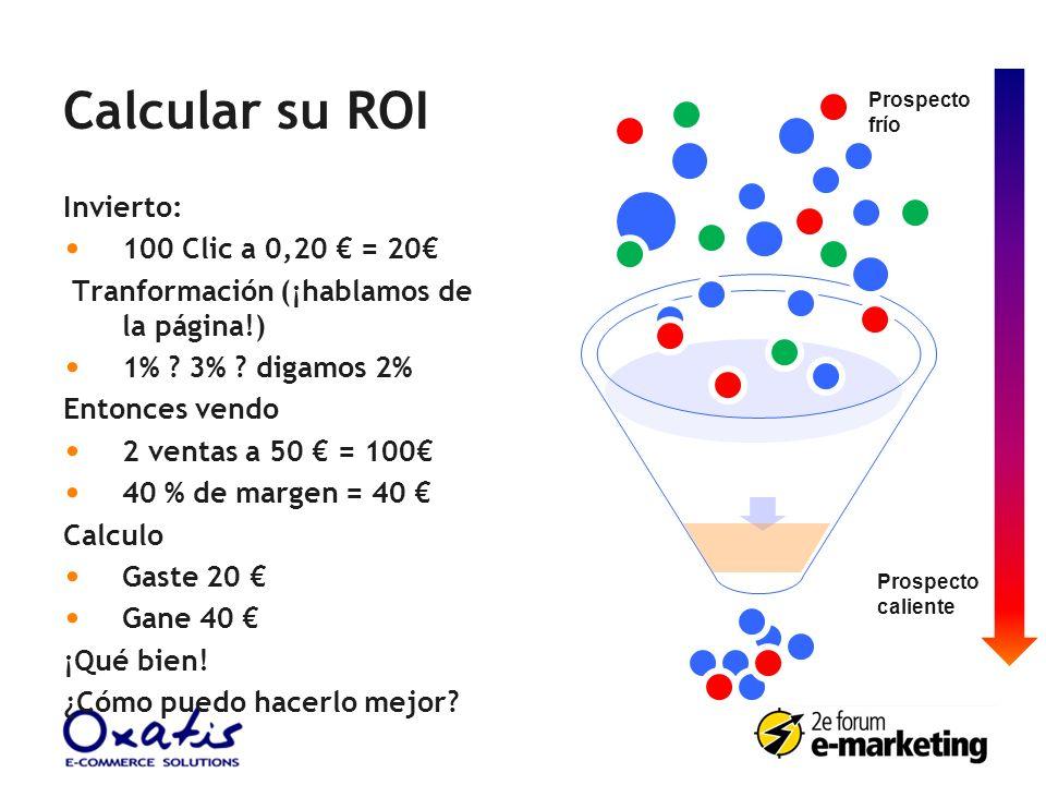 Calcular su ROI Invierto: 100 Clic a 0,20 = 20 Tranformación (¡hablamos de la página!) 1% ? 3% ? digamos 2% Entonces vendo 2 ventas a 50 = 100 40 % de