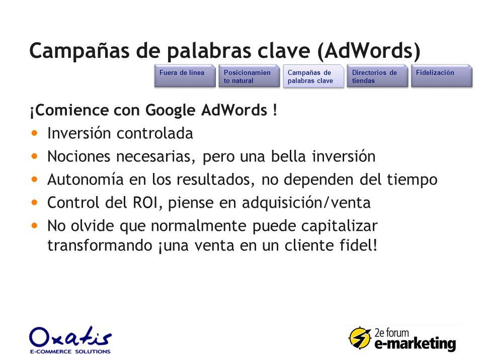 Campañas de palabras clave (AdWords) ¡Comience con Google AdWords ! Inversión controlada Nociones necesarias, pero una bella inversión Autonomía en lo
