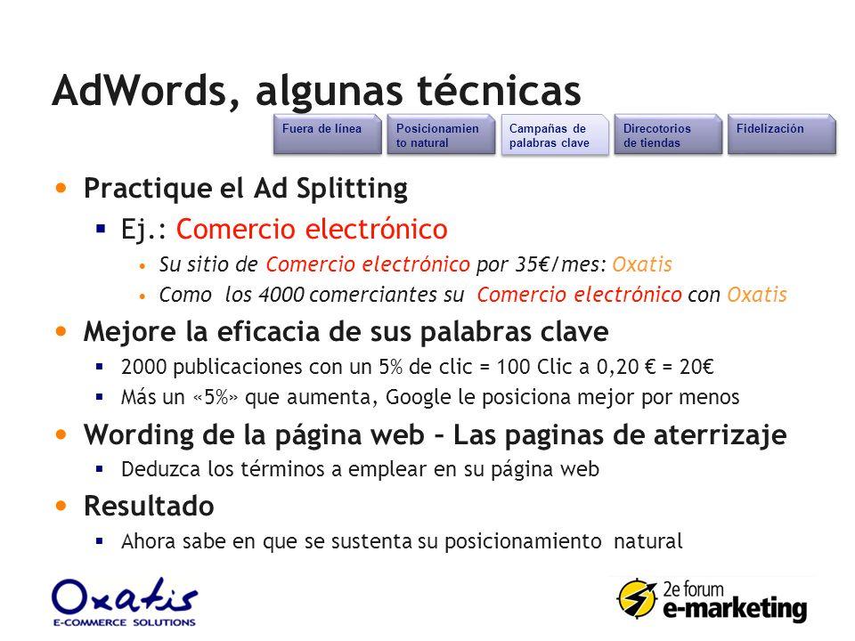AdWords, algunas técnicas Posicionamien to natural Campañas de palabras clave Direcotorios de tiendas Fidelización Fuera de línea Practique el Ad Spli