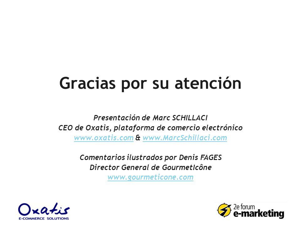 Gracias por su atención Presentación de Marc SCHILLACI CEO de Oxatis, plataforma de comercio electrónico www.oxatis.comwww.oxatis.com & www.MarcSchill