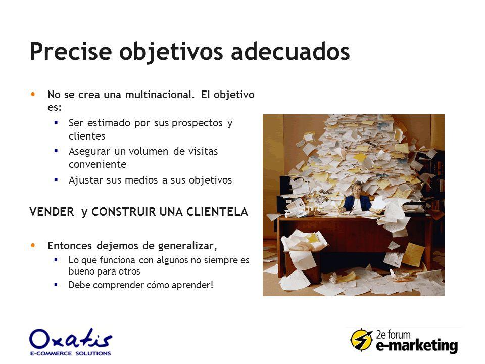 Precise objetivos adecuados No se crea una multinacional. El objetivo es: Ser estimado por sus prospectos y clientes Asegurar un volumen de visitas co