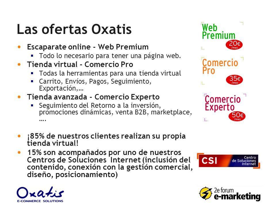 Las ofertas Oxatis Escaparate online - Web Premium Todo lo necesario para tener una página web. Tienda virtual - Comercio Pro Todas la herramientas pa