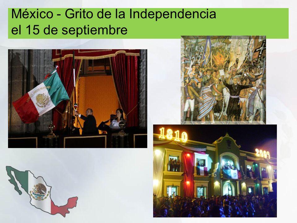 México - Grito de la Independencia el 15 de septiembre
