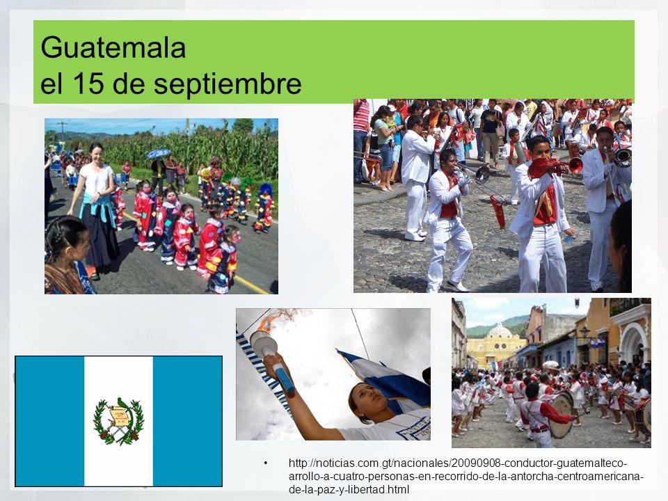 Guatemala el 15 de septiembre http://noticias.com.gt/nacionales/20090908-conductor-guatemalteco- arrollo-a-cuatro-personas-en-recorrido-de-la-antorcha-centroamericana- de-la-paz-y-libertad.html