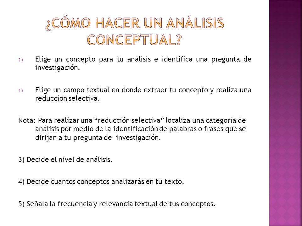 1) Elige un concepto para tu análisis e identifica una pregunta de investigación. 1) Elige un campo textual en donde extraer tu concepto y realiza una