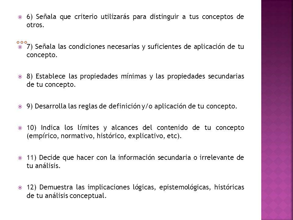 6) Señala que criterio utilizarás para distinguir a tus conceptos de otros. 7) Señala las condiciones necesarias y suficientes de aplicación de tu con