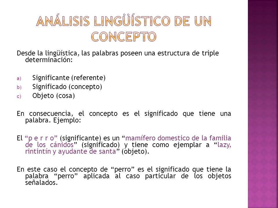 Desde la lingüística, las palabras poseen una estructura de triple determinación: a) Significante (referente) b) Significado (concepto) c) Objeto (cos