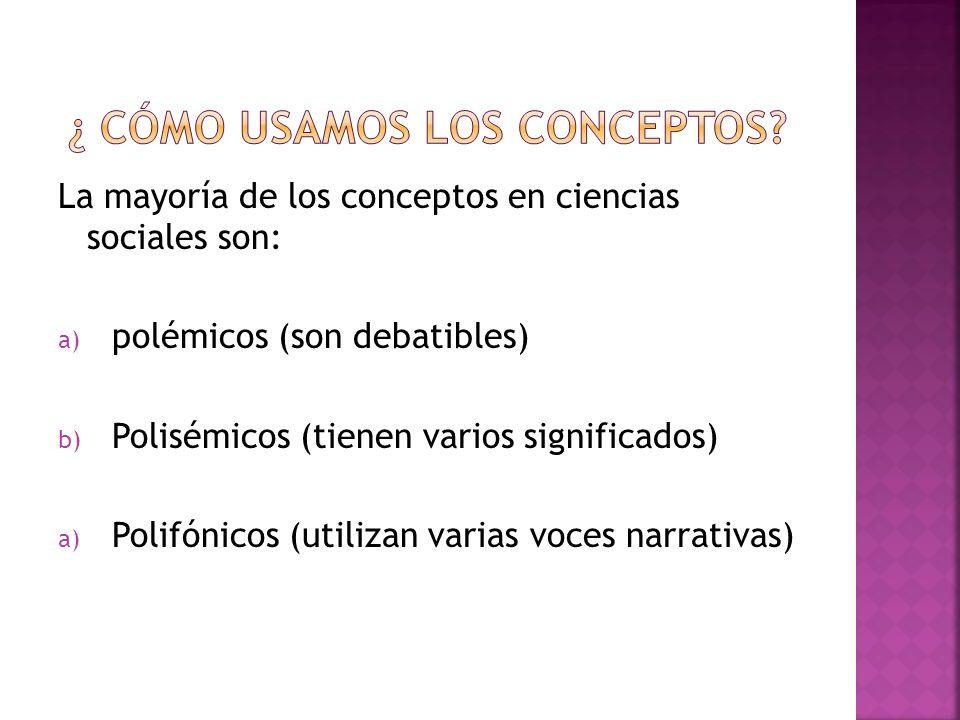 La mayoría de los conceptos en ciencias sociales son: a) polémicos (son debatibles) b) Polisémicos (tienen varios significados) a) Polifónicos (utiliz