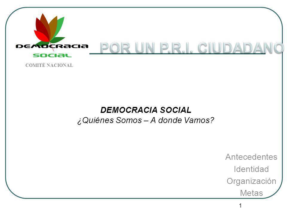1 DEMOCRACIA SOCIAL ¿Quiénes Somos – A donde Vamos? Antecedentes Identidad Organización Metas COMITÉ NACIONAL