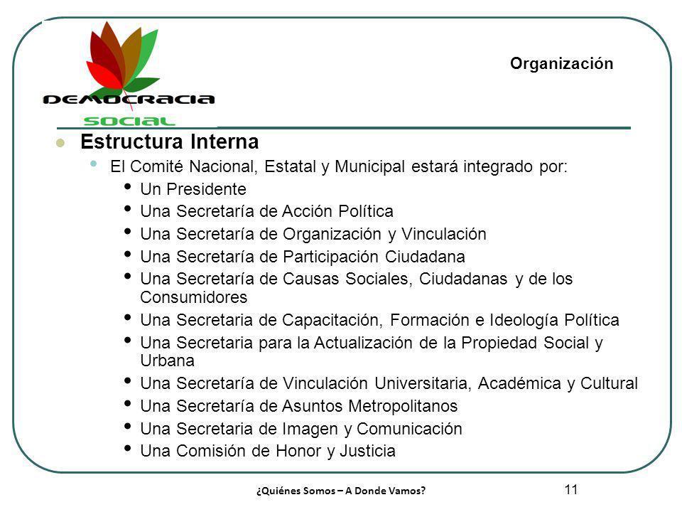 11 Estructura Interna El Comité Nacional, Estatal y Municipal estará integrado por: Un Presidente Una Secretaría de Acción Política Una Secretaría de