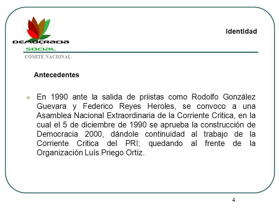 4 Antecedentes En 1990 ante la salida de priistas como Rodolfo González Guevara y Federico Reyes Heroles, se convoco a una Asamblea Nacional Extraordi