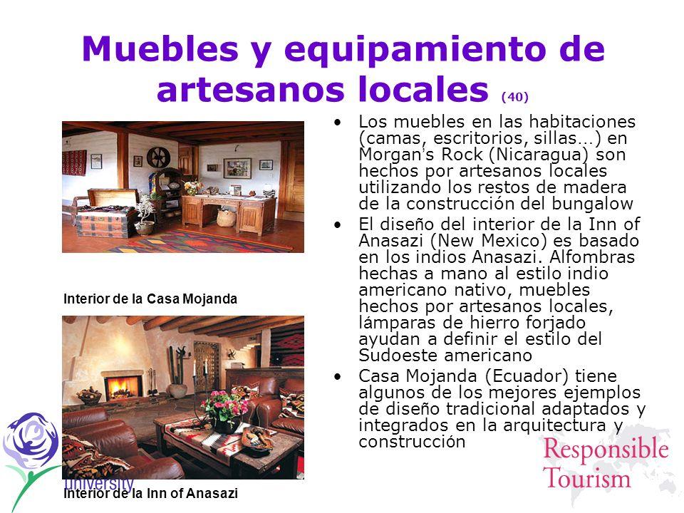 Muebles y equipamiento de artesanos locales (40) Los muebles en las habitaciones (camas, escritorios, sillas … ) en Morgan s Rock (Nicaragua) son hech