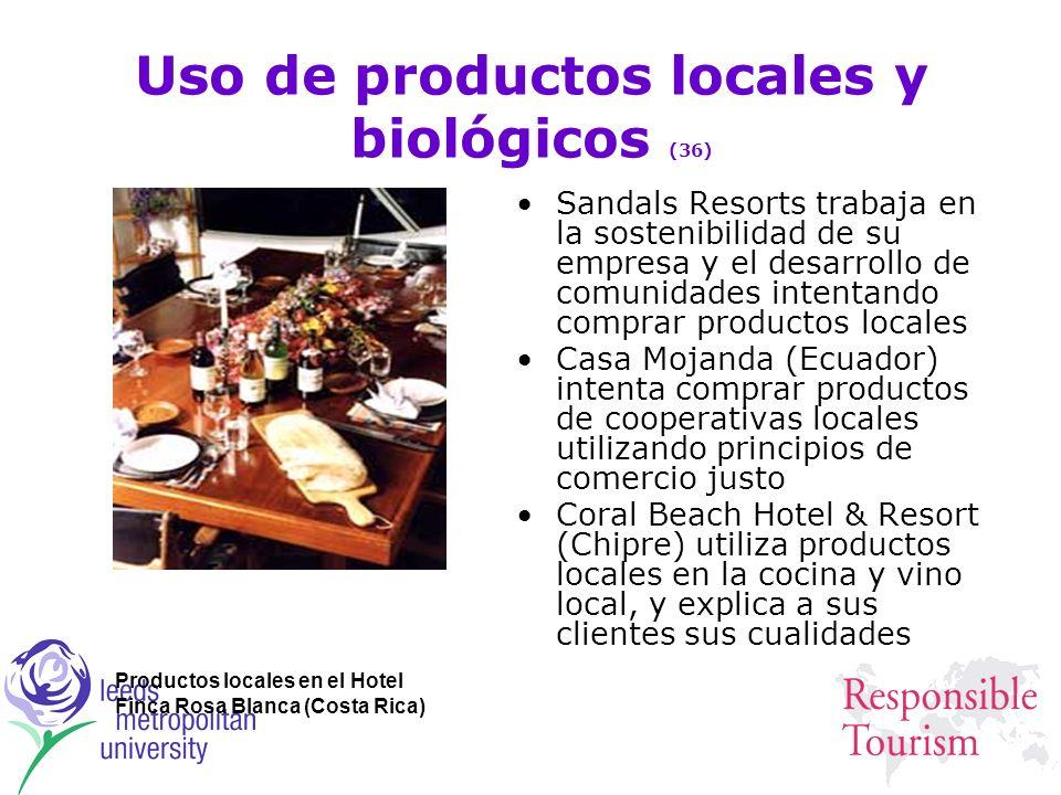 Uso de productos locales y biológicos (36) Sandals Resorts trabaja en la sostenibilidad de su empresa y el desarrollo de comunidades intentando compra