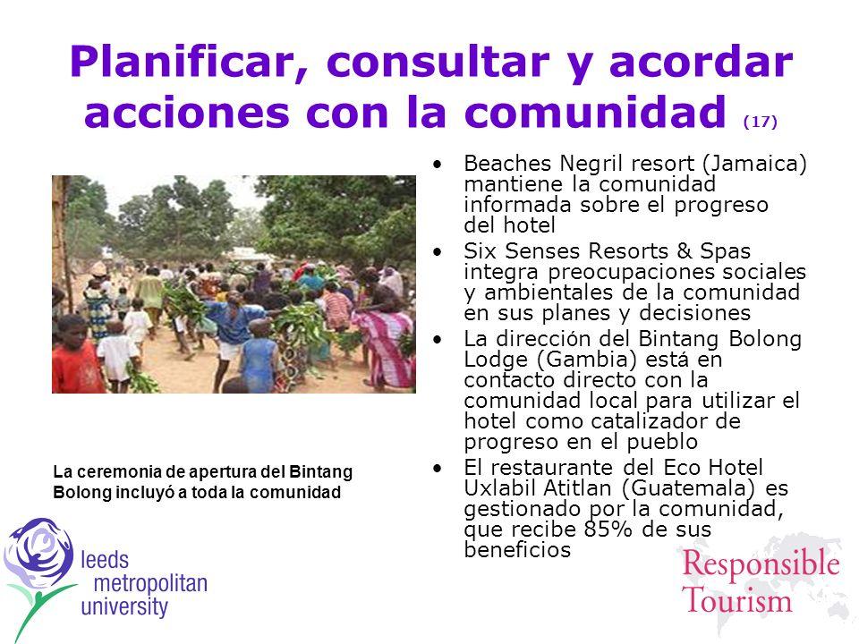 Planificar, consultar y acordar acciones con la comunidad (17) Beaches Negril resort (Jamaica) mantiene la comunidad informada sobre el progreso del h