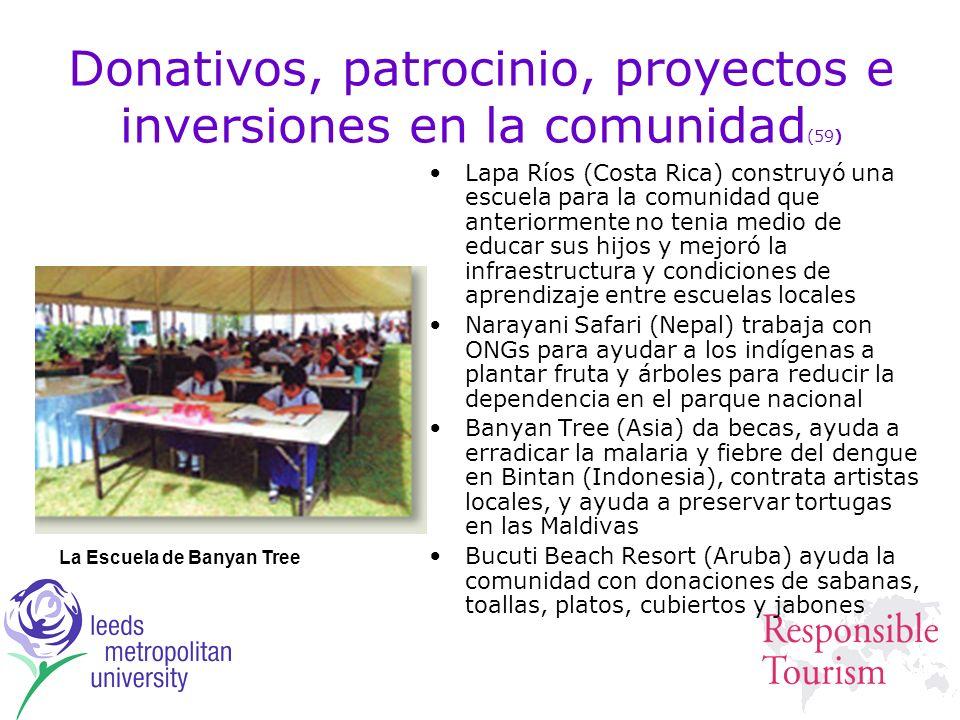 Donativos, patrocinio, proyectos e inversiones en la comunidad (59) Lapa Ríos (Costa Rica) construyó una escuela para la comunidad que anteriormente n