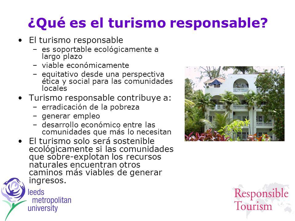 ¿Qué es el turismo responsable? El turismo responsable –es soportable ecológicamente a largo plazo –viable económicamente –equitativo desde una perspe