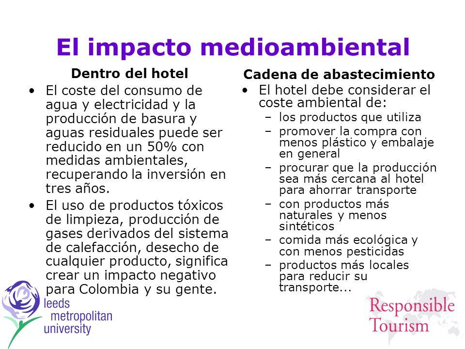 El impacto medioambiental Dentro del hotel El coste del consumo de agua y electricidad y la producción de basura y aguas residuales puede ser reducido