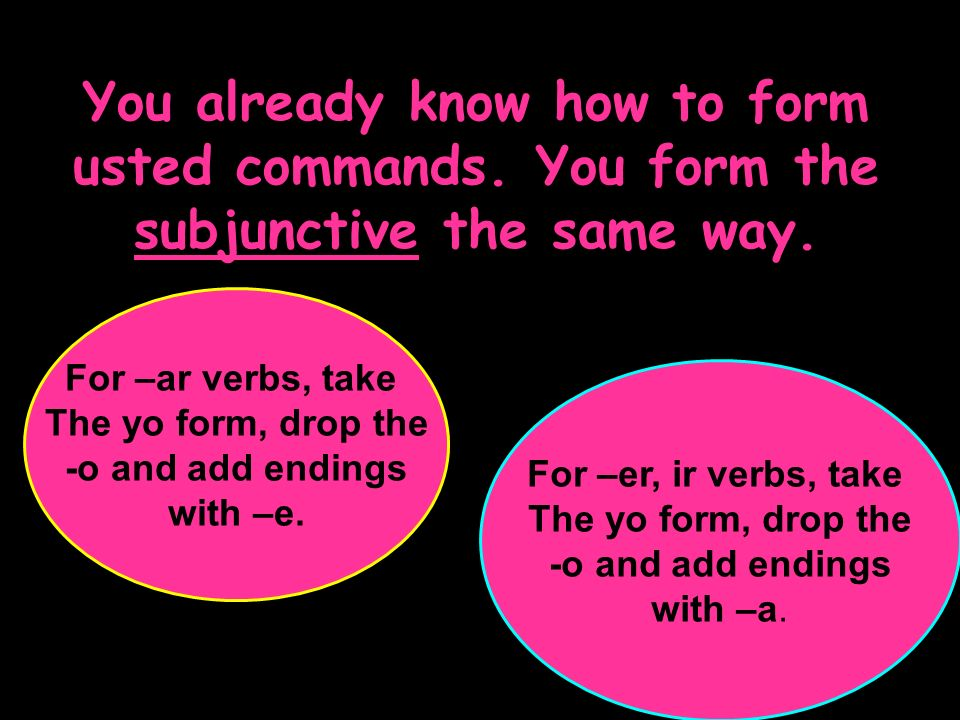 You already know how to form usted commands. You form the subjunctive the same way. For –ar verbs, take The yo form, drop the -o and add endings with