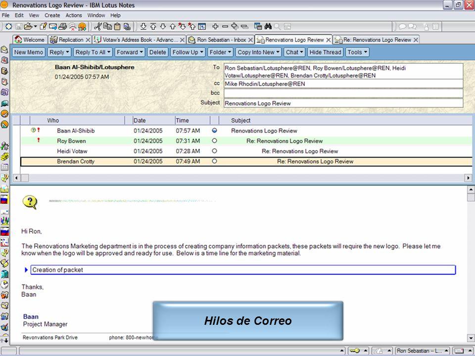 IBM Software Group | Lotus Software © 2005 IBM Corporation 11 Hilos de Correo