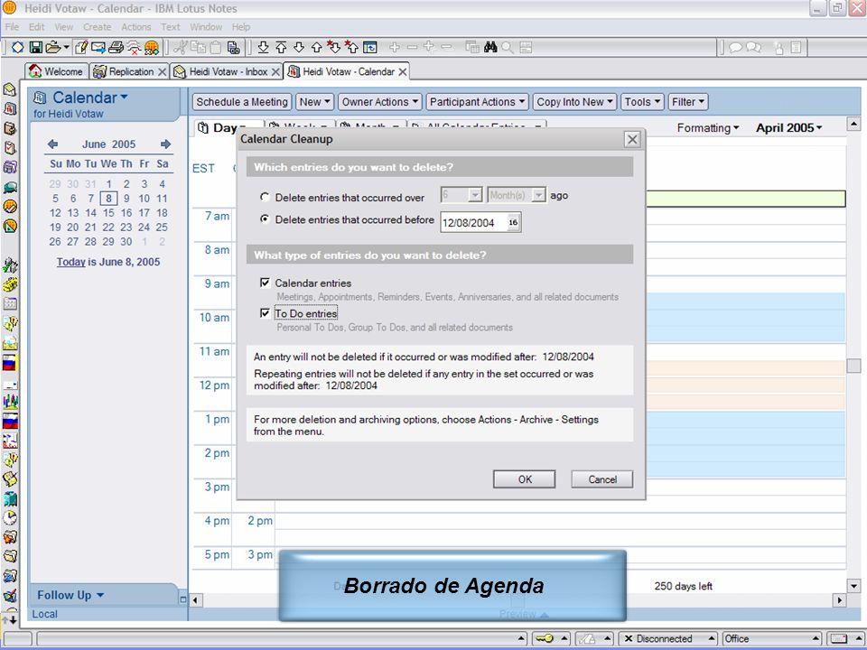 IBM Software Group | Lotus Software © 2005 IBM Corporation 15 Borrado de Agenda
