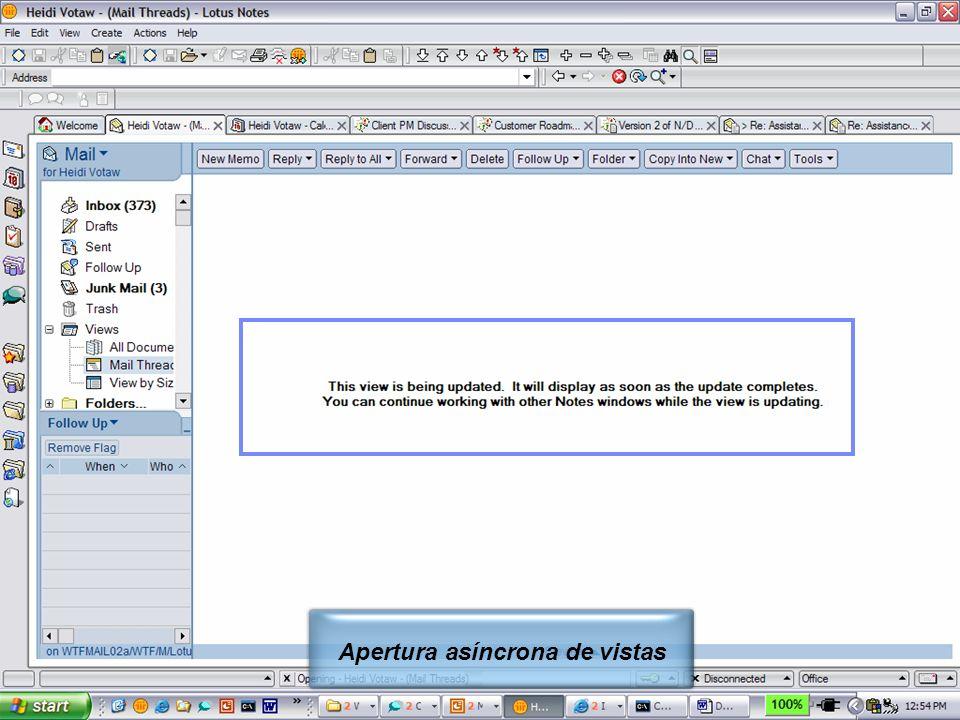 IBM Software Group | Lotus Software © 2005 IBM Corporation 16 Apertura asíncrona de vistas