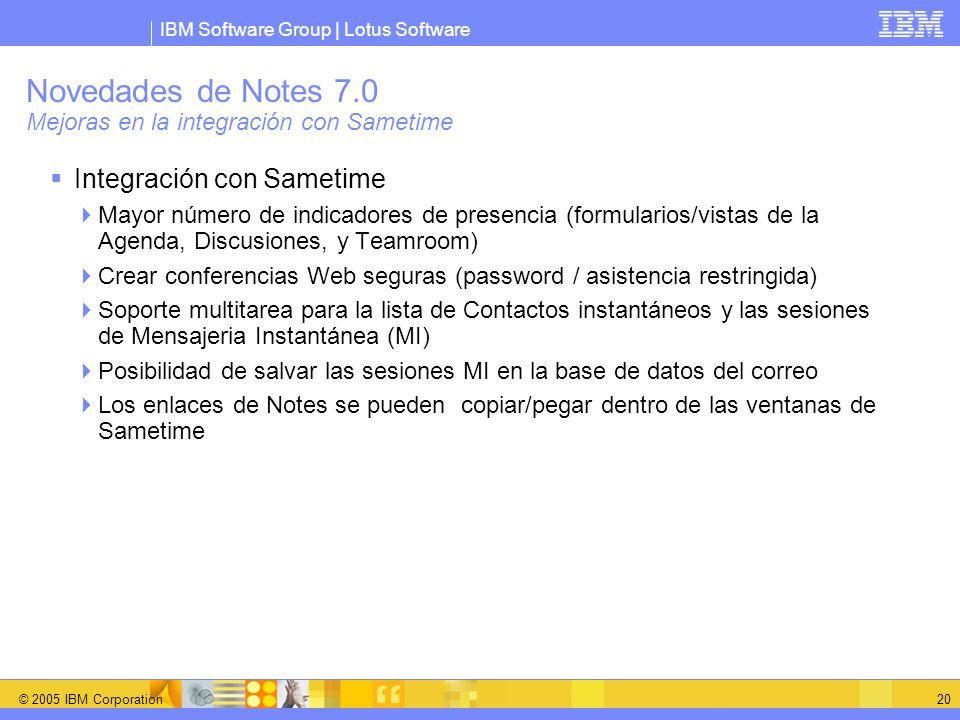 IBM Software Group | Lotus Software © 2005 IBM Corporation 20 Novedades de Notes 7.0 Mejoras en la integración con Sametime Integración con Sametime M
