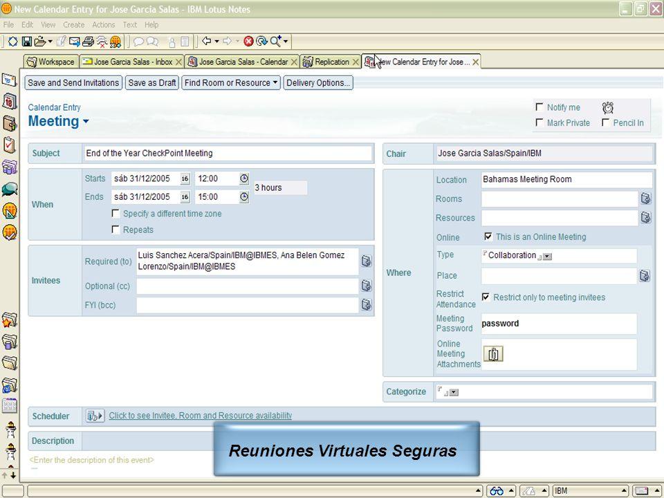 IBM Software Group | Lotus Software © 2005 IBM Corporation 23 Reuniones Virtuales Seguras