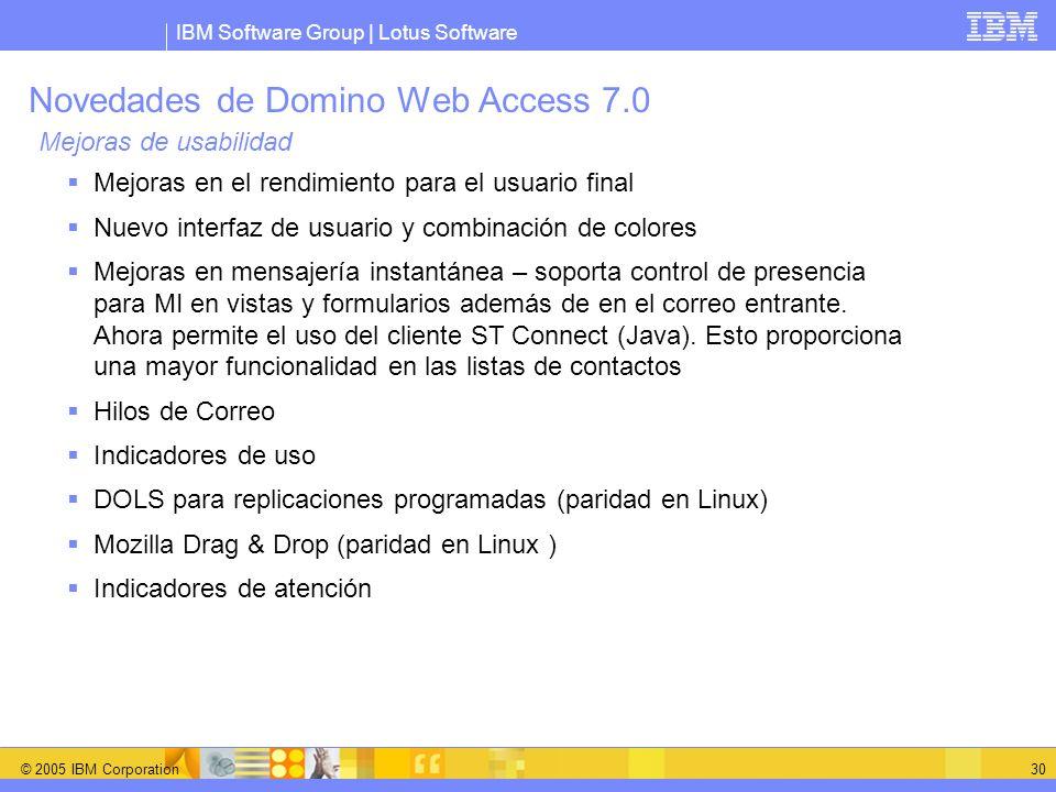 IBM Software Group | Lotus Software © 2005 IBM Corporation 30 Novedades de Domino Web Access 7.0 Mejoras de usabilidad Mejoras en el rendimiento para