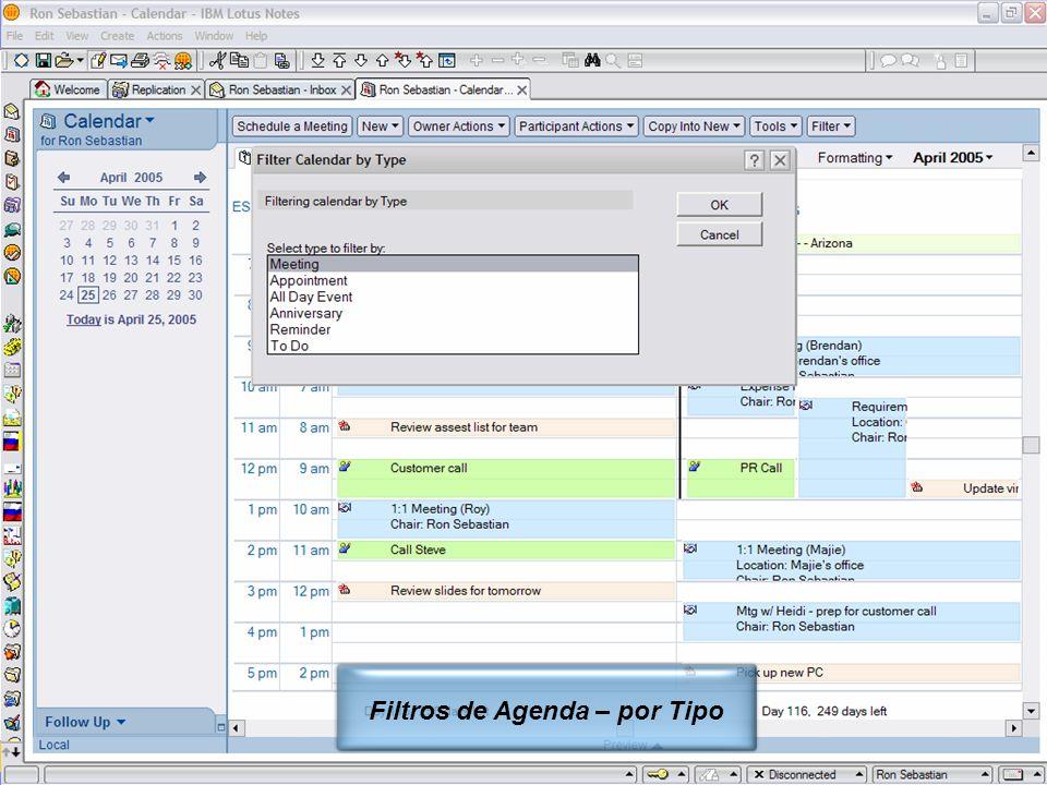 IBM Software Group | Lotus Software © 2005 IBM Corporation 6 Filtros de Agenda – por Tipo