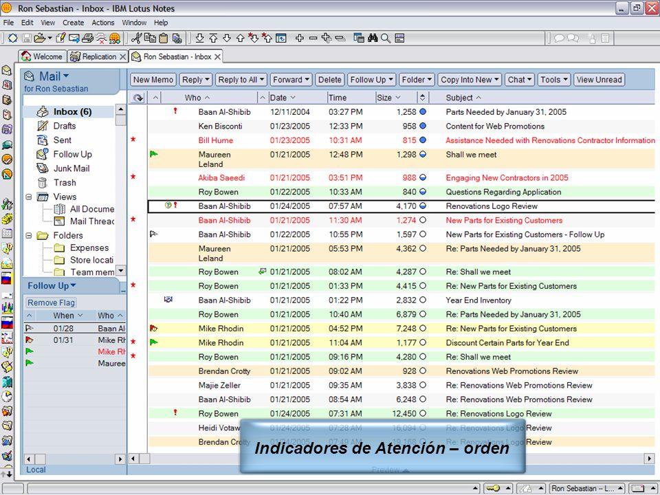 IBM Software Group | Lotus Software © 2005 IBM Corporation 7 Indicadores de Atención – orden