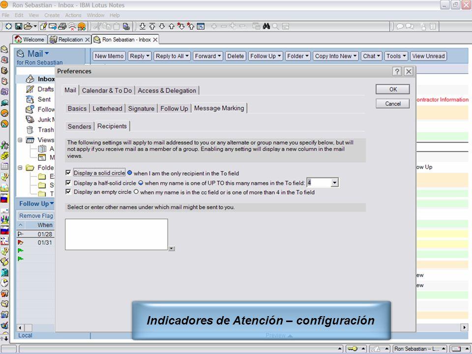 IBM Software Group | Lotus Software © 2005 IBM Corporation 8 Indicadores de Atención – configuración