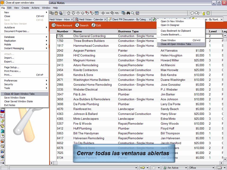 IBM Software Group | Lotus Software © 2005 IBM Corporation 9 Cerrar todas las ventanas abiertas