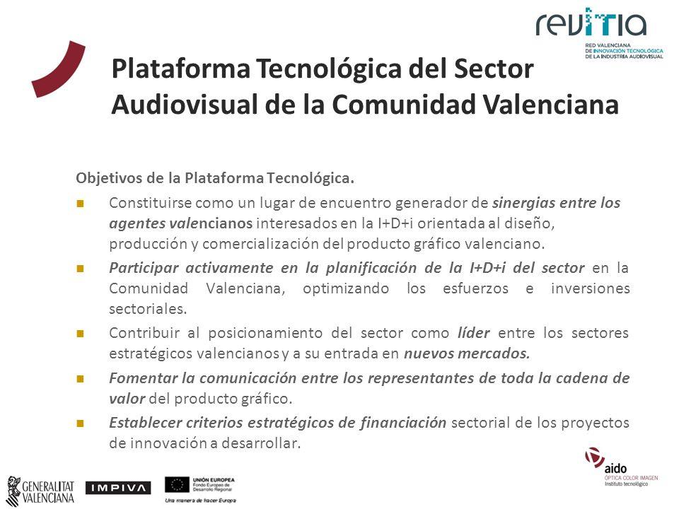 Objetivos de la Plataforma Tecnológica. Constituirse como un lugar de encuentro generador de sinergias entre los agentes valencianos interesados en la