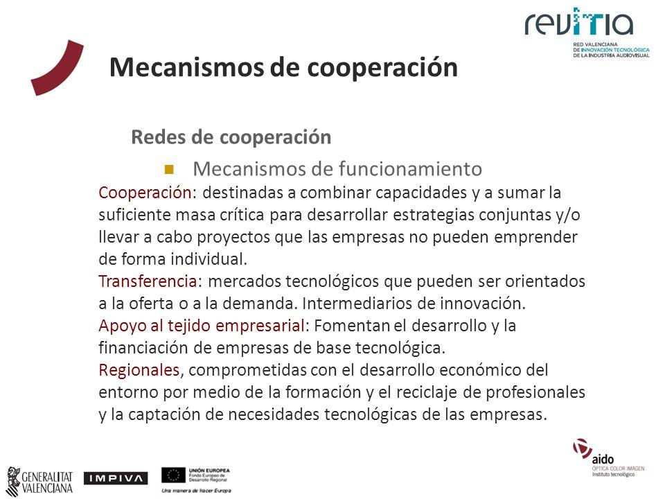 Mecanismos de cooperación Redes de cooperación Mecanismos de funcionamiento Cooperación: destinadas a combinar capacidades y a sumar la suficiente mas