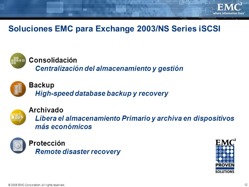 12 © 2005 EMC Corporation. All rights reserved. Soluciones EMC para Exchange 2003/NS Series iSCSI Consolidación Centralización del almacenamiento y ge