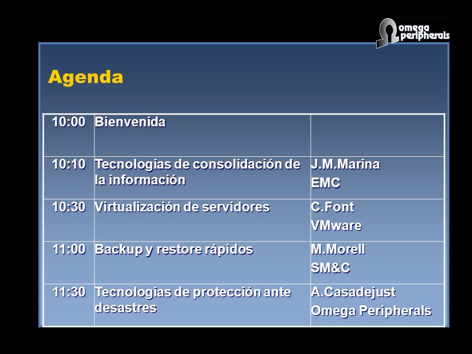 Agenda10:00Bienvenida10:10 Tecnologias de consolidación de la información J.M.MarinaEMC 10:30 Virtualización de servidores C.FontVMware 11:00 Backup y